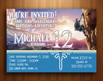Legend of Zelda Birthday Invitation (Breath of the Wild) - Digital Printable File