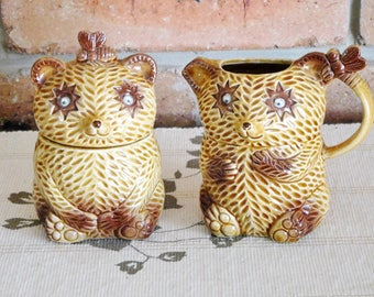Vintage bone china googly eye honey bear sugar bowl and creamer, 1970s