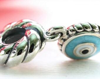 Genuine Pandora Silver Blue Enamel Evil Eye Watchful Eye Charm Retired 790529EB