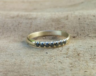Black diamond eternity 14 karat solid gold ring