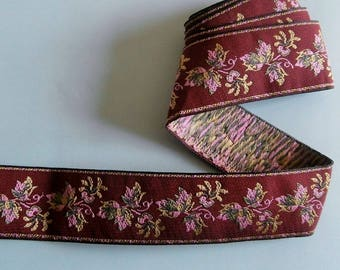 Burgundy woven Ribbon, pink and green floral pattern (ref 870 60 22)