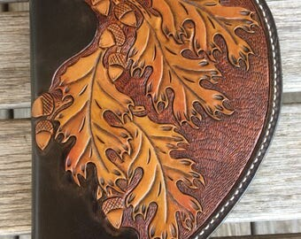 Small Hand Tooled Oak Leaf Leather Pistol Case