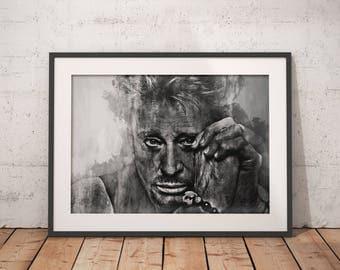Johnny Hallyday poster Johnny Hallyday   print wall art, home decor