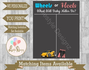 Wheels or Heels Gender Reveal Voting Board- Gender Reveal Party - Sex Reveal - Wheels or High Heels - Pink or Blue - Printable