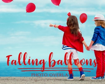 20 Falling Balloons photo overlays, PNG photo overlays, photoshop overlay, balloon overlays