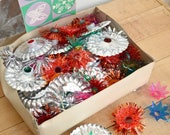 Box of Vintage Christmas Light Reflectors, Punched Tin, Plastic and Tinsel