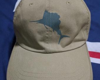 vintage 90s nautica strapback cap hat swordfish yacht sailling gear rare!!