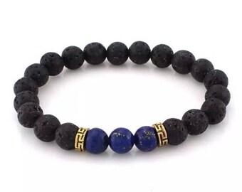 Lapis lazuli with lava stone chakra bracelet