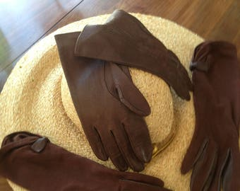 2 pairs 50's vintage brown leather gloves. 6 and half. Good