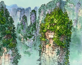 ORIGINAL Zhengjiajie Illustration