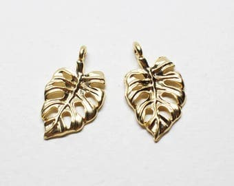 P0732/Anti-Tarnished Matte Gold Plating Over Pewter/Small Monstera Pendant/11.5x20mm/2pcs