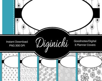 Turquoise, Black, White 01 - Digital Covers for Goodnotes Digital Planners and Journals - PNG & Printable