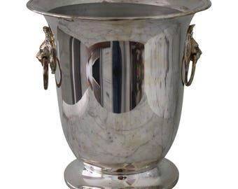 Vintage Silver Plate Lion Head Handle Champagne Bucket / Wine Cooler / Ice Bucket