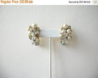 ON SALE Vintage Gold Tone 1940s Clip On Aurora Borelias Faux Pearls Cluster Earrings 80417