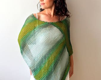 Beach cover up, summer poncho, loose knit poncho, green cover up, green poncho, green shrug, gift for her, fast shipping, READY TO SHİP