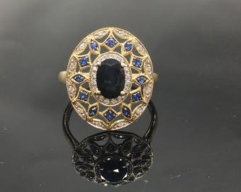 14K Yellow Gold Victorian Sapphire Engagement Ring - 14K Vintage Inspired Sapphire Ring - Yellow Gold Diamond and Sapphire Promise Ring -