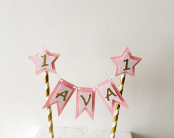 Name Bunting Cake Topper, Personalised Cake Banner, Birthday Cake Decoration, Customised, Sparkle Party, Centrepiece, Glitter Topper
