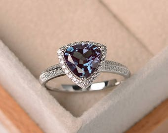 trillion cut, lab alexandrite ring, wedding ring, sterling silver ring, June birthstone ring, color changing gemstone ring