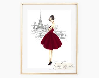 Paris Fashion Illustration Print,Parisian Fashion Sketch, Eiffel Tower Art Print, Fashion Wall Art,Paris Wall Art print, Eiffel tower print
