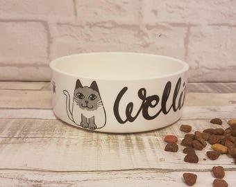 Personalised Cat Bowl - Cat Food Bowl - Small Pet Food Bowl