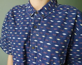 Vintage Blue Denim Mens Shirt With Ornaments Summer Edition Festival Clothing Old School Oxford Shirt