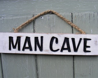 Shabby Chic Man Cave Rustic Carved Wooden Hanging Sign