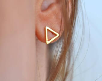 Triangle Stud Earrings, Triangle Earrings, Gold Stud Earrings, Stud Earrings, Geometric Jewelry, Geometric Earrings, Triangle Earrings