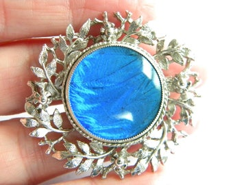 vintage costume brooch Blue Butterfly Wings ~ lovely ~ ~ in A2902