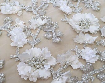Luxury 3D off white flower lace fabric, ivory pearl beaded, hand made, 3d white chantilly lace fabric, 3D lace, embroidered lace, B00194