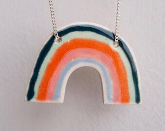 Handmade ceramic rainbow necklace, rainbow necklace, statement rainbow necklace, pottery rainbow necklace, rainbow jewellery,rainbow pendant