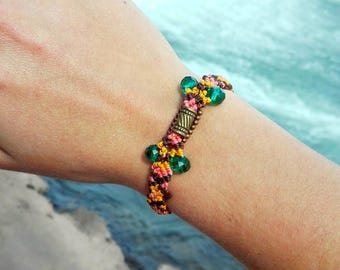 Bohemian bracelet colored yellow pink and brown summer jewelry