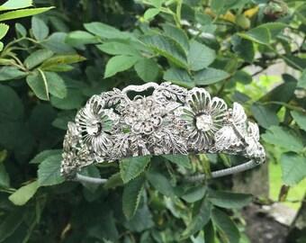 Vintage tiara - antique tiara - vintage marcasite bridal headpiece - silver headpiece - bridal headdress - Downton Abbey tiara