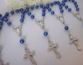 30 High Quality Boy Navy Blue Pearl Mini Rosary Favors for Baptism, Christening, First Communion, Single Decade, Pocket Rosary Gift