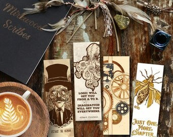 Steampunk Bookmark Set |  4 Printable Steampunk Bookmarks |  Reader Gift |  Instant Download