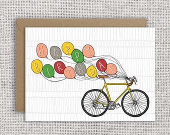 HAPPY BIRTHDAY BICYCLE | cyclist birthday card, bike enthusiast, bmx, motocross, fixie, mamil, hand-lettered, different colour available