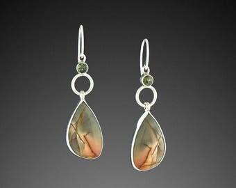 Red River Jasper Earrings with Moldavite