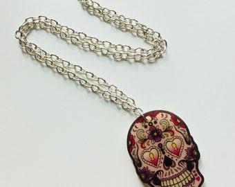 Skull | Sugar Skull | Day Of The Dead | Halloween | Printed | Laser Cut | Acrylic | Necklace