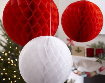 Christmas Decoration, Honeycombe Balls, Red and White, Hanging Christmas Decor, Modern Christmas, Hall Decorations, Paper Balls