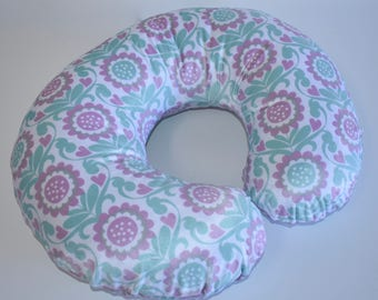 Pastel flowers Cover - shabby chic, nursing pillow cover,  nursery,  girl , pink, gray, mint