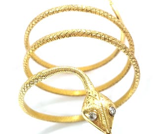 18k Yellow Gold Coiled Snake Bracelet Over 3 OUNCES IN GOLD!
