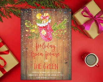 Holiday Open House Invitation, Gold Christmas Party Invitation Printable, Winter Chalkboard Invitation, Christmas Open House, Holiday Party
