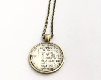 INSPIRE Vintage Dictionary Word Pendant