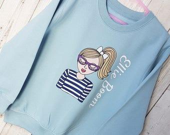 Personalised Children's Sweatshirt / Children's Clothing / Girl's Sweatshirt / Blue Sweatshirt / Sweatshirt with name / Christmas Gift