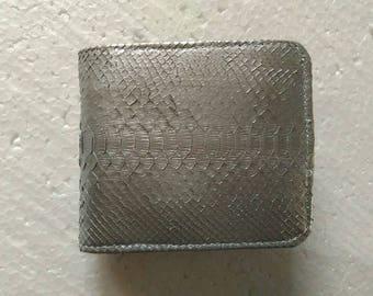 SILVER PYTHON WALLET Genuine Python Snakeskin Bifold Wallet