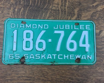 1965 Diamond Jubilee Saskatchewan License Plate 186-764