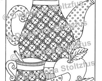 Cinnamon Apple Tea Coloring Page PDF
