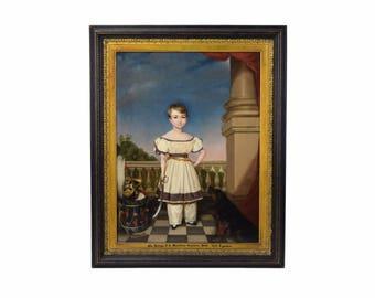 1831 British Painting Boy Sword & Dog Sir George Forestier-Walker Baronet Castleton