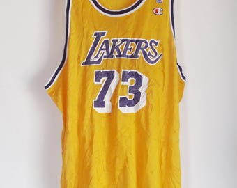 8a3ac25fb ... Vintage 90s Champion Dennis Rodman Los Angeles Lakers 73 Jersey Mens 52  ...