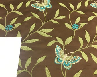 Ladybug butterfly leaves Brown Green Teal Jacquard fabric by the yard