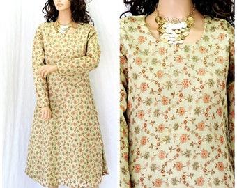 Kurta tunic dress / size M / gold lame Indian kurta / handmade boho ethnic Indie curta /  SunnyBohoVintage